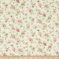 Quilt Gate Ruru Bouquet Classic Library 2 Small Roses Shirting Beige/Pink