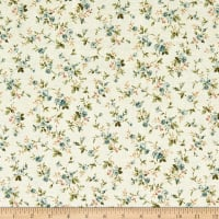 Quilt Gate Ruru Bouquet Classic Library 2 Small Roses Shirting Beige/Blue