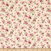 Quilt Gate Ruru Bouquet Classic Library 2 Small Roses Shirting Light Pink/Pink
