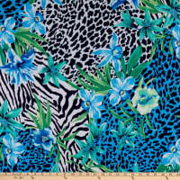 Fabtrends Dty Animal Cheetah Floral Blue