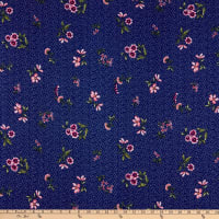 Fabtrends DTY Floral Bouquet Mini Dots Navy Olive Pink