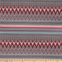 Designer Zigzag Print Cotton Stretch Knit Coral/ Mint/Dark Grape