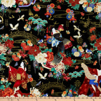 Timeless Treasures Metallic Koko Geishas In Garden Allover Multi