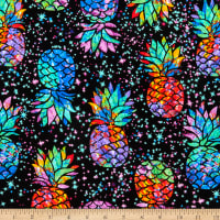 Timeless Treasures Midnight Tropical Galaxy Pineapples Black