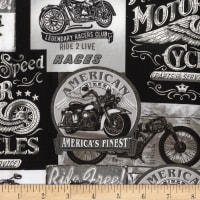 Timeless Treasures Enjoy The Ride Motorcycle Signs Grey