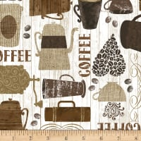 Timeless Treasures Rise & Grind Kitschy Coffee Motifs Brown