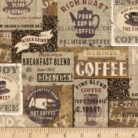 Timeless Treasures Rise & Grind Packed Coffee Signs Brown