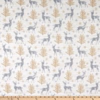 Timeless Treasures Flannel Snow Is Falling Rustic Reindeer Cream