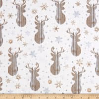 Timeless Treasures Flannel Snow Is Falling Rustic Reindeer Heads Cream