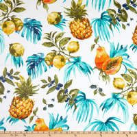 STOF France Citrus-E Coated Broadcloth Turquoise Tablecloth