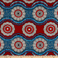 Supreme Wax African Abstract Circle Print 6 Yards Red/Blue
