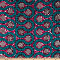 Supreme Wax African Curves Print 6 Yards Red/Green