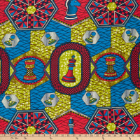 Supreme Wax African Chess Print 6 Yards Red/Green