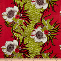 Supreme Wax African Large Flower Print 6 Yards Red/Green