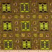 Supreme Wax African Squares Print 6 Yards Green