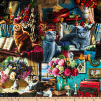 Digitally Printed Minky Madame Victoria's Elegant Cats Vignettes Multi