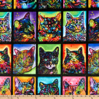 Digitally Printed Minky Crazy for Cats Kitty Warhol  Multi