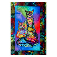 """Digitally Printed Minky Crazy for Cats Kitty Power 24"""" Panel Multi"""
