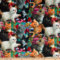 Digitally Printed Minky Madame Victoria's Elegant Cats Packed Kittens Multi