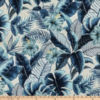 Performatex Java Leaves Outdoor Woven Blue Linen