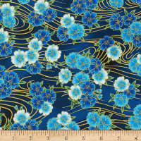 Kaufman Metallic Imperial Collection 16 Flowers Blue