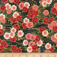 Kaufman Metallic Imperial Collection 16 Flowers Onyx