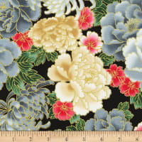 Kaufman Metallic Imperial Collection 16 Large Flowers Onyx
