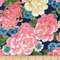 Kaufman Metallic Imperial Collection 16 Large Flowers Spring