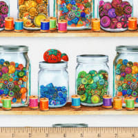 Kaufman Sewing Emporium Jars And Buttons Vintage