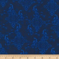 Kaufman Florentine Garden Tonal Peacocks Blue