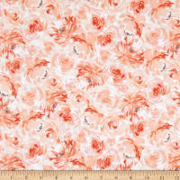 """Exclusive Fabric Editions 36"""" x 42"""" Pre-Cut G Packed Floral Flannel Pink"""