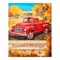 "Harvest Red Truck Blessings 36"" Panel Orange Rust"
