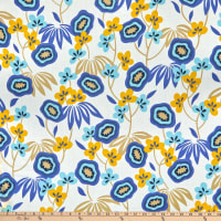 Deadstock Cotton Voile River Pansy Eyes White/Yellow/Sky Blue/Tan/Natural