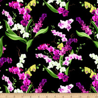 Clothworks Orchid Fancy Toss Black