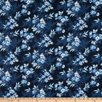 """Whistler Studios 108"""" Quilt Back Blooming Branches Navy"""