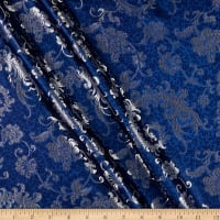 Fabric Merchants Chinese Brocade Swirls Navy/Silver