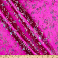 Fabric Merchants Chinese Brocade Floral Swan Pink