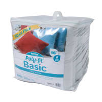 """Poly-Fil® Basic™ Pillow Insert - """"16"""" X 16"""" -  6 PC Value Pack in clear case"""