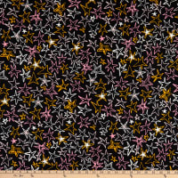 Fabric Merchants Double Brushed Poly Jersey Knit Tossed Stars Black/Pink