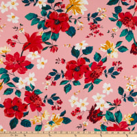 Fabric Merchants Double Brushed Poly Jersey Knit Floral Blush/Red