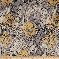 Fabric Merchants Double Brushed Poly Jersey Knit Snake Skin Taupe/Mustard