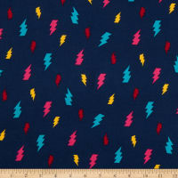 Fabric Merchants Double Brushed Poly Jersey Knit Thunderbolt Navy/Pink/Teal