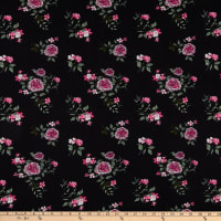 Fabric Merchants Double Brushed Poly Stretch Jersey Knit Floral Garden Black/Pink