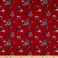 Fabric Merchants Double Brushed Poly Stretch Jersey Knit Floral Garden Wine/Pink