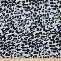 Fabric Merchants Double Brushed Poly Jersey Knit Animal Cheetah Print Denim/Black