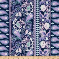 Fabric Merchants Double Brushed Poly Jersey Knit Floral Paisley Navy/Mint/Lilac