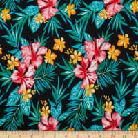 Fabric Merchants Double Brushed Poly Jersey Knit Tropical Floral Black/Red
