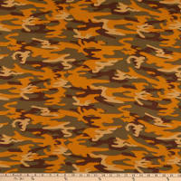Fabric Merchants Double Brushed Poly Jersey Knit Camo Olive/Brown