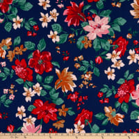 Fabric Merchants Double Brushed Poly Jersey Knit Tropical Floral Navy/Blush