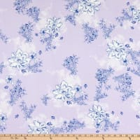 Fabric Merchants Double Brushed Poly Jersey Knit Floral Lilac/Ivory